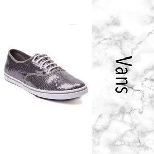 04952ea51ae846 Vans Off the Wall Silver Sequins Sneakers Lace Up ...